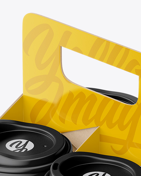 Download Matte Coffee Cup Holder Psd Mockup Yellow Images