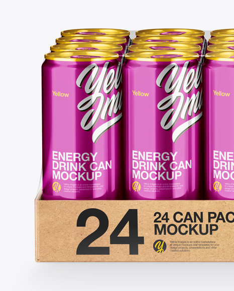 Download Transparent Pack With 24 Matte Aluminium Cans Psd Mockup Yellow Images