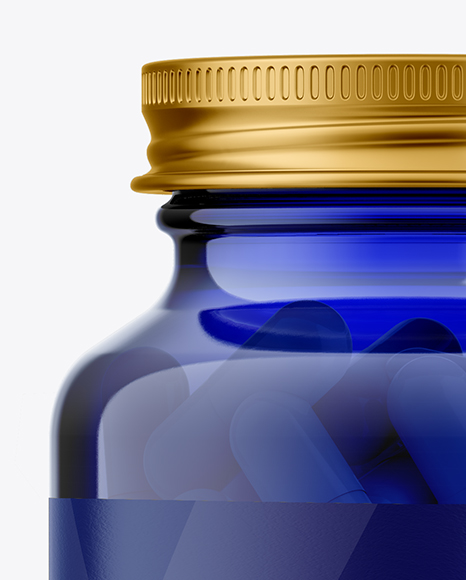 Download Blue Glass Medicine Bottle Psd Mockup Yellowimages