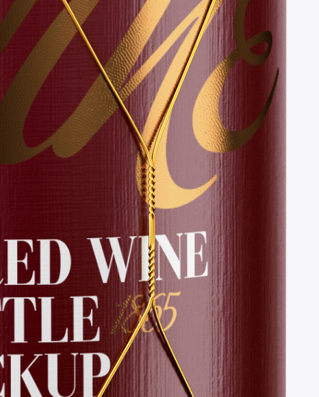 Download Clear Glass White Wine Bottle With Golden Wire Psd Mockup Yellowimages