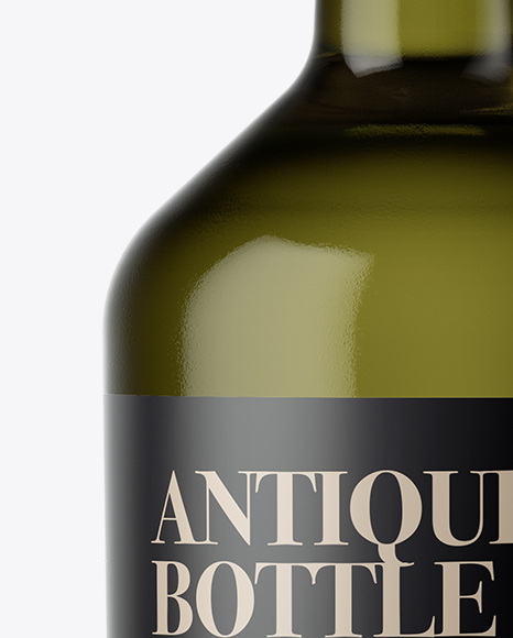 Download Antique Green Glass Bottle With Olive Oil Psd Mockup Yellow Images