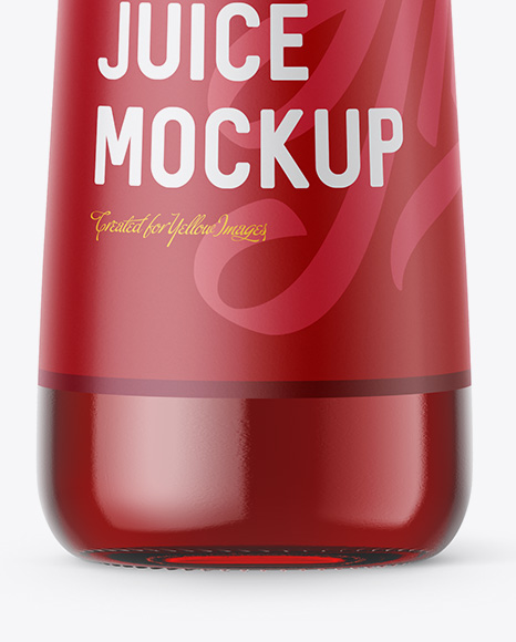 Download Clear Glass Bottle With Cherry Juice Psd Mockup Yellowimages