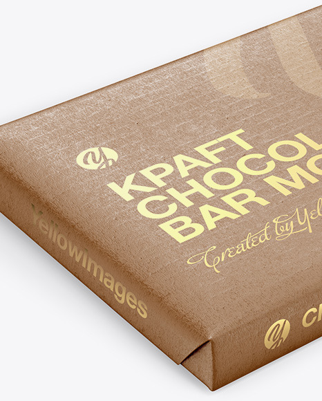 Download Kraft Glossy Chocolate Bar Psd Mockup Front View High Angle Shot Yellowimages