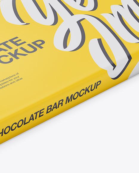 Download Kraft Matte Chocolate Bar Psd Mockup Halfside View High Angle Shot Yellow Images