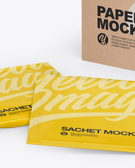 Download Mockup Sachet Kraft Yellowimages