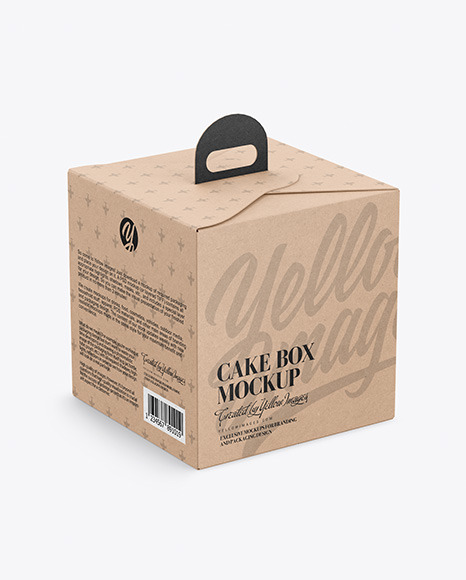 Download Cake Kraft Box Mockup in Box Mockups on Yellow Images ...