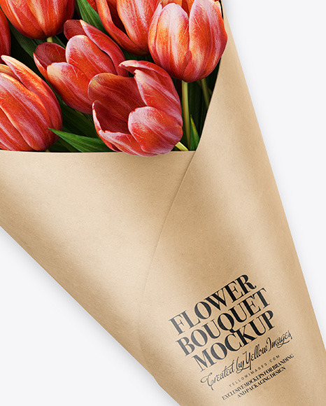 Download Kraft Flower Bouquet Psd Mockup Yellowimages
