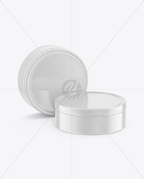Download Round Matte Tin Box Psd Mockup Yellowimages