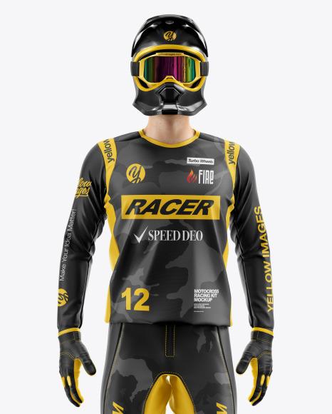 Download Motocross Racing Kit Mockup in Apparel Mockups on Yellow ...
