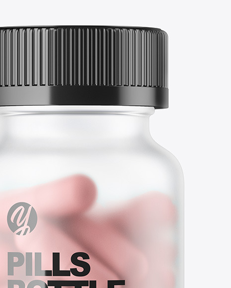 Download Frosted Bottle With Pills Psd Mockup Yellowimages