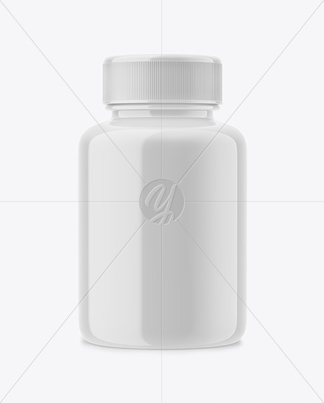 Download Glossy Plastic Pills Bottle Psd Mockup Front View Yellow Images