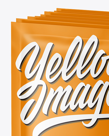 Download Box With Matte Sachets Psd Mockup Yellowimages