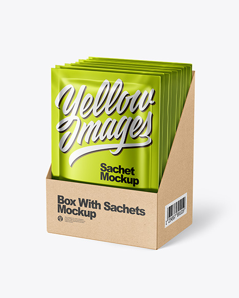 Download Metallic Sachet With Box Psd Mockup Front View Yellow Images