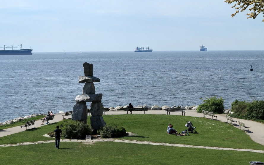 From the bus tour, a view of the Inukshuk in English Bay