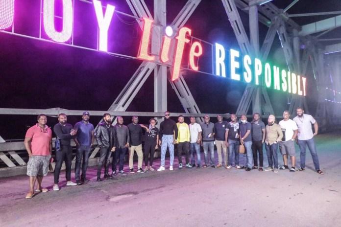 Life lager beer lights up Niger bridge