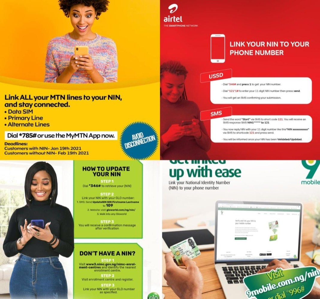 How to retrieve and link your National Identity Number with Airtel, MTN, Glo & 9mobile network