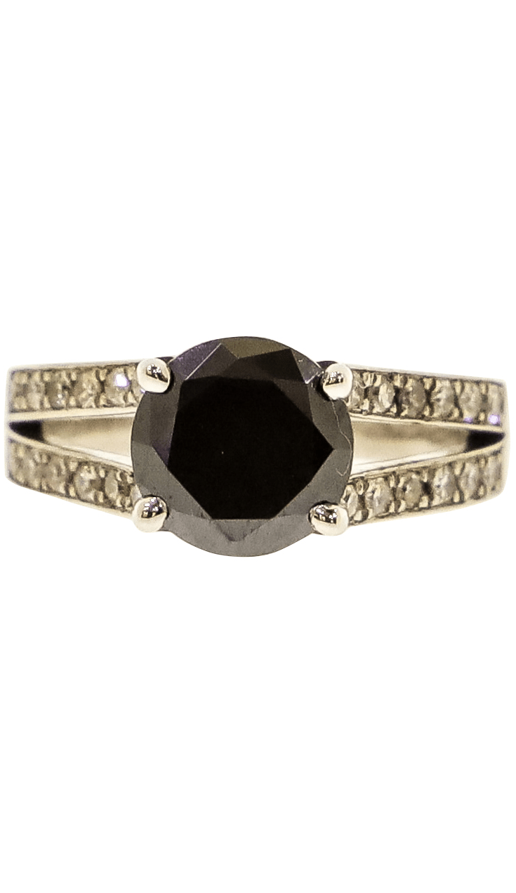 Split-Shank Black Diamond Ring Image