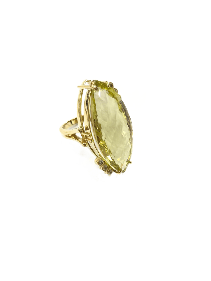 Ring with Lemon Citrine and Diamonds Image