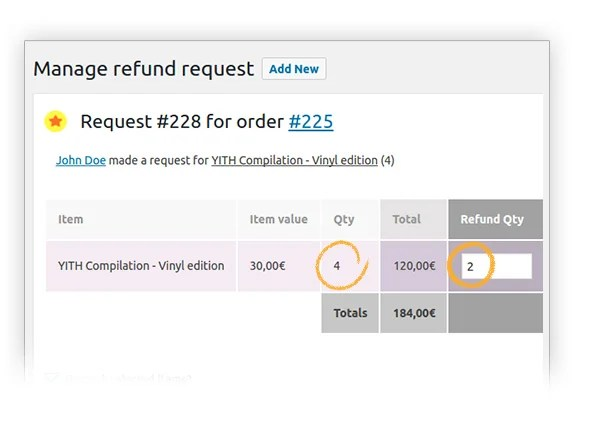 Manage quantity for refund