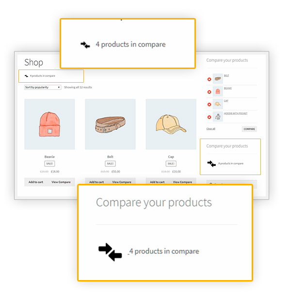 Compare - product counter