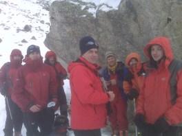 М. М. Горбенко (в центре) и остатки героческого отряда альпинистов
