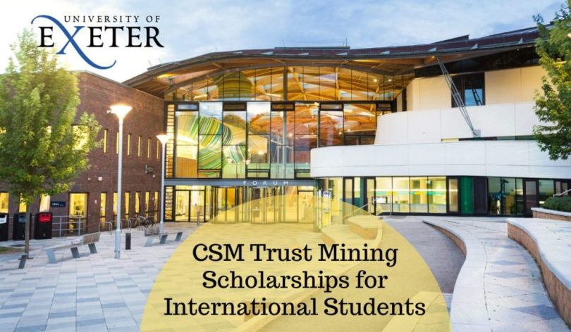 Image result for CSM Trust Mining Scholarships for International Students at University of Exeter in UK, 2020