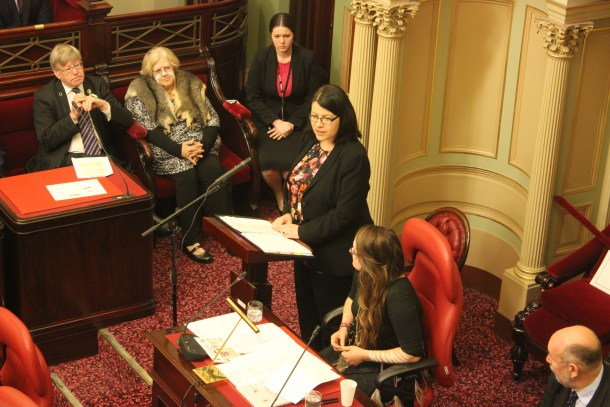 Youth Affairs Minister Jenny Mikakos addresses the young parliamentarians at Monday's official opening of the 2015 YMCA Youth Parliament. PIcture: LAUREN COLOSIMO.
