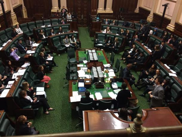 Youth Parliamentarians debating the bill put forward by Firbank and Brighton Grammar Schools