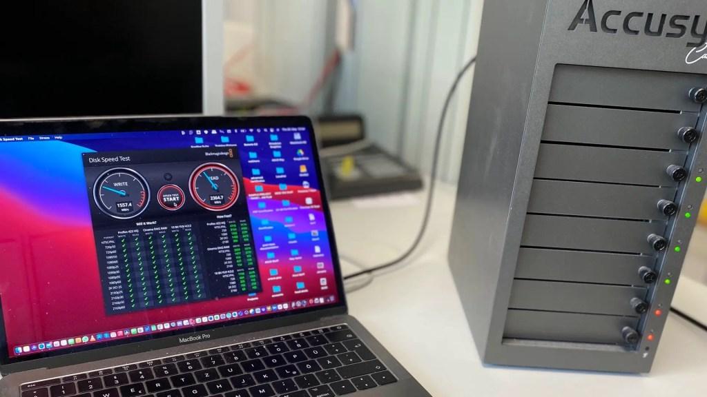 Accusys storage with the MacBook Pro: image: Blake Jones