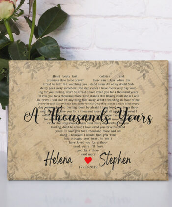 Personalized vintage Lyrics canvas art. Beautiful wedding gift for bride groom,heart shape lyrics 9