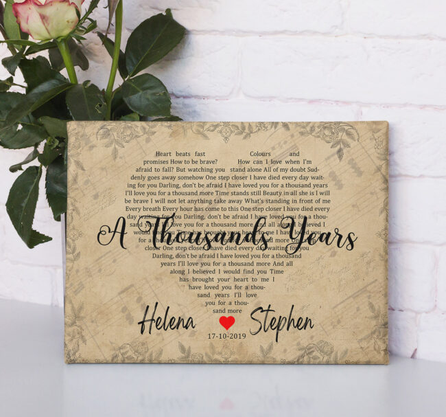 Personalized vintage Lyrics canvas art. Beautiful wedding gift for bride groom,heart shape lyrics 3