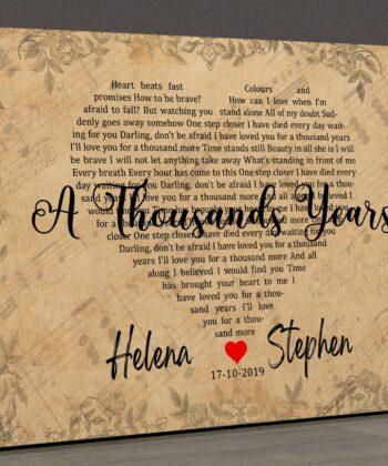 Personalized vintage Lyrics canvas art. Beautiful wedding gift for bride groom,heart shape lyrics 13