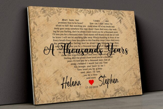 Personalized vintage Lyrics canvas art. Beautiful wedding gift for bride groom,heart shape lyrics 7