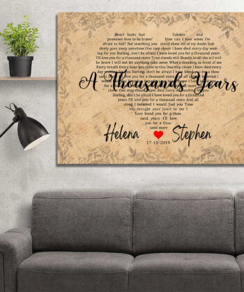 Personalized vintage Lyrics canvas art. Beautiful wedding gift for bride groom,heart shape lyrics 11