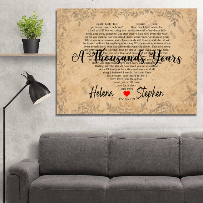 Personalized vintage Lyrics canvas art. Beautiful wedding gift for bride groom,heart shape lyrics 5