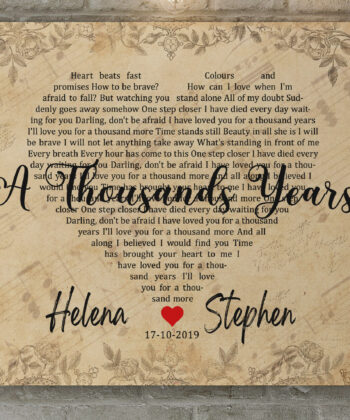Personalized vintage Lyrics canvas art. Beautiful wedding gift for bride groom,heart shape lyrics 12