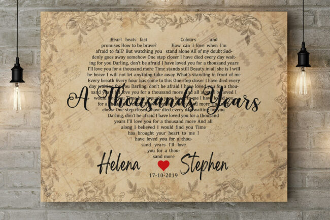 Personalized vintage Lyrics canvas art. Beautiful wedding gift for bride groom,heart shape lyrics 6