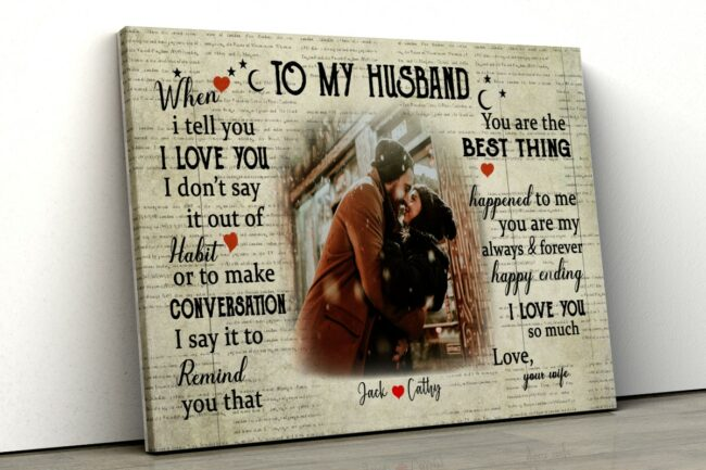 To my Husband canvas art, wife and husband art for love 1