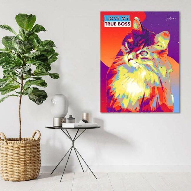 personalized pet canvas art, colorful pop art canvas, pet gift 5