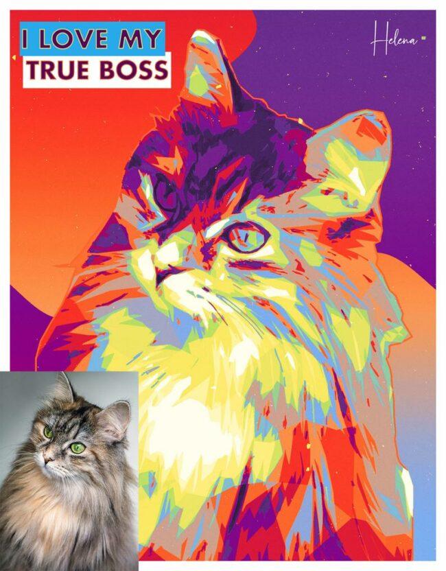 personalized pet canvas art, colorful pop art canvas, pet gift 4