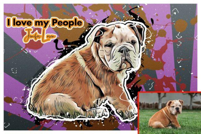 Personalized your Pet cartoon canvas art, dog cat canvas art, cartoon art pet gift 4