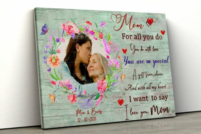 personalized canvas art for mother. A Daughter gift for mom, son gift, canvas family, Love my Mom 5