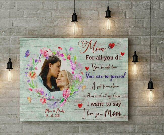 personalized canvas art for mother. A Daughter gift for mom, son gift, canvas family, Love my Mom 4