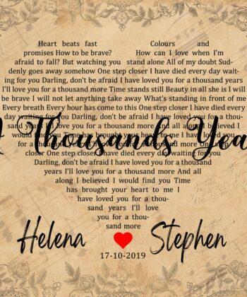Personalized vintage Lyrics canvas art. Beautiful wedding gift for bride groom,heart shape lyrics 10