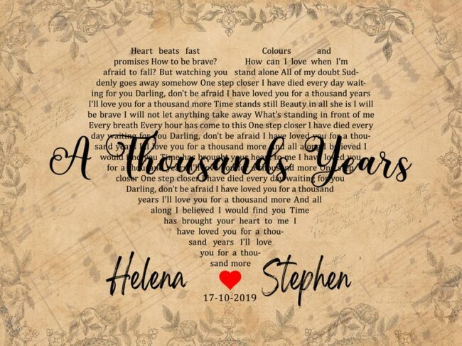 Personalized vintage Lyrics canvas art. Beautiful wedding gift for bride groom,heart shape lyrics 4
