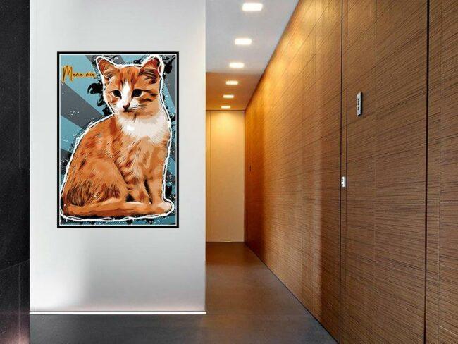 Personalized your Pet cartoon canvas art, dog cat canvas art, cartoon art pet gift 3