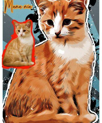 Personalized your Pet cartoon canvas art, dog cat canvas art, cartoon art pet gift 6