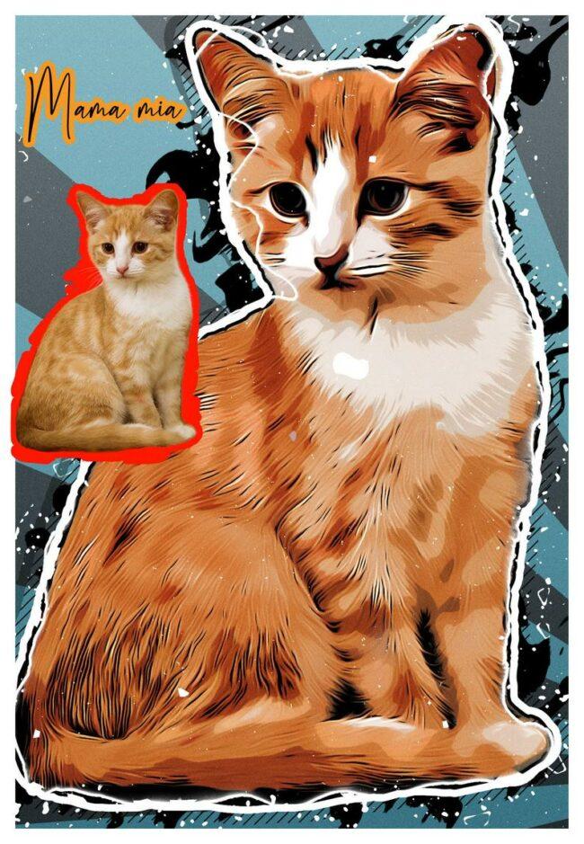 Personalized your Pet cartoon canvas art, dog cat canvas art, cartoon art pet gift 2
