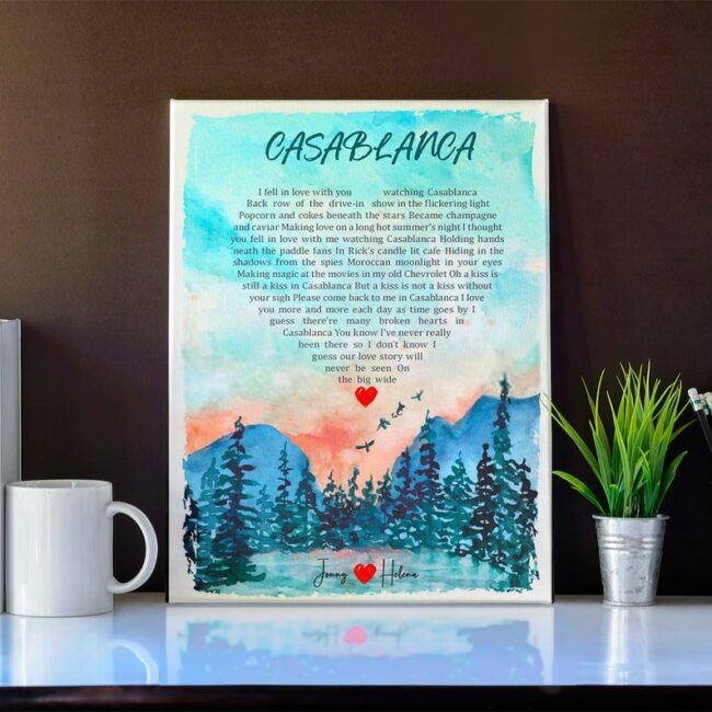Personalized heart shape Lyrics song portrail canvas art, your loved song in canvas 2
