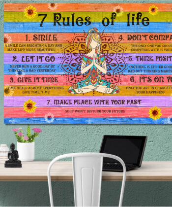 7 RULES OF LIFE Canvas art, beautiful quotes for happy life 6
